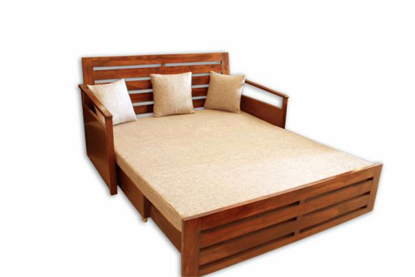 Natural living furniture wooden sheesham hardwood for Double bed diwan
